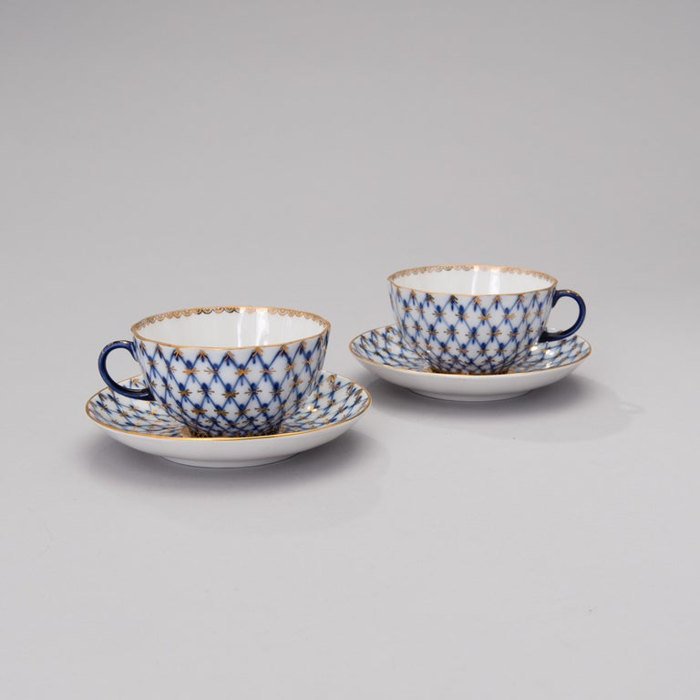Art Nouveau Russian Tea Set Cobalt Net Lomonosov Porcelain, Sovjet Union