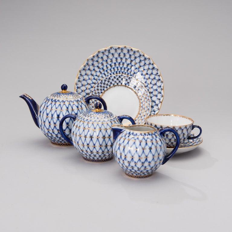 Hand-Painted Russian Tea Set Cobalt Net Lomonosov Porcelain, Sovjet Union