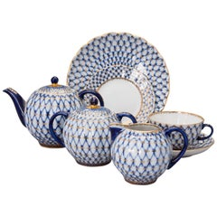 Russian Tea Set of 16 Piece Cobalt Net Lomonosov Porcelain, Sovjet Union