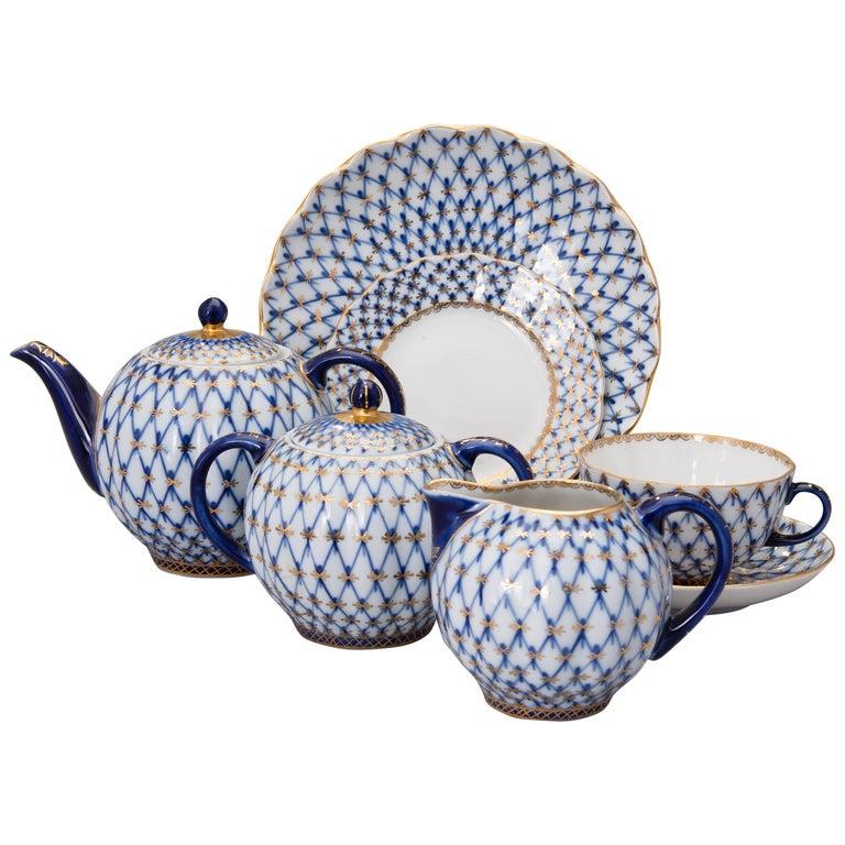 Russian Tea Set Cobalt Net Lomonosov Porcelain, Sovjet Union