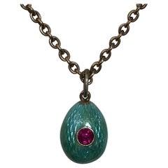 Russian Teal Blue Enamel Ruby Egg Pendant, circa 1900
