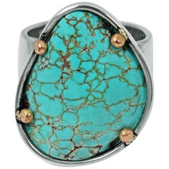 Russian Turquoise Sterling Silver and 14 Karat Gold Two-Tone Cocktail Ring