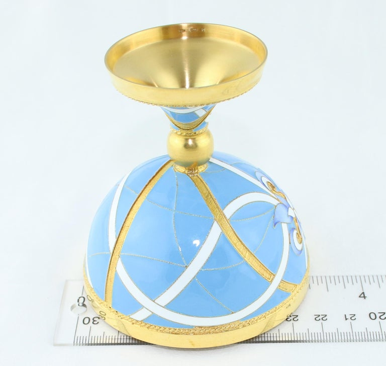 Russian Wine Chalice 24 Karat Gold-Plated Sterling Silver with Enamel For Sale 5