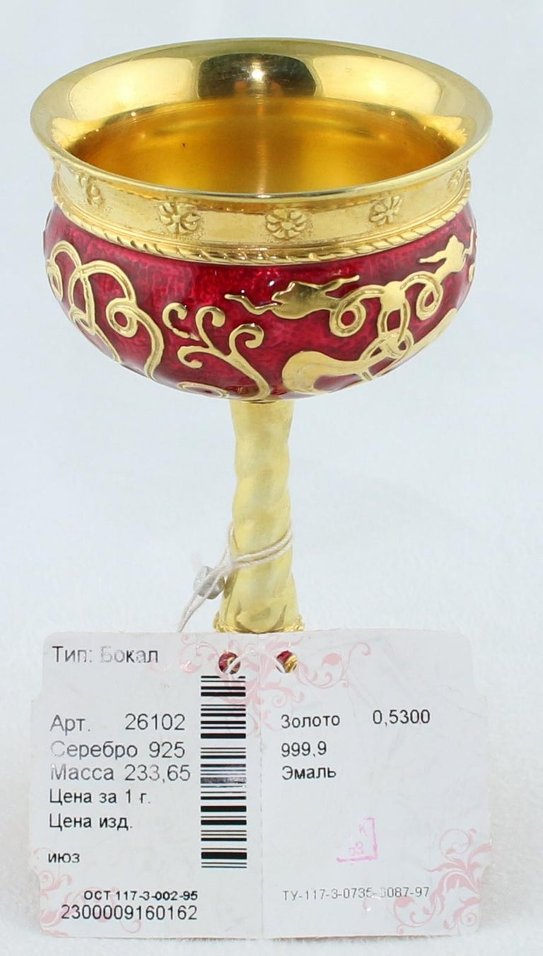 Unique Wine Chalice or Goblet from Russia This is a Russian Revival Chalice or Goblet By Russkiye Samotsvety The Chalice is Sterling Silver 925 The Chalice is plated with 24K Yellow Gold It is adorned with Hot Enamel in Red The Chalice weighs 233.65