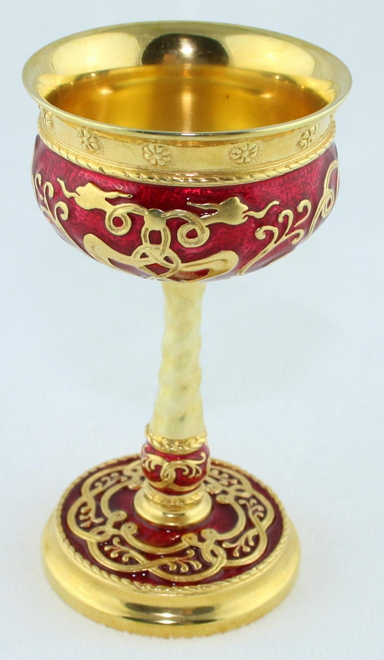 Russian Wine Chalice 24 Karat Gold Plated Sterling Silver with Enamel For Sale 1