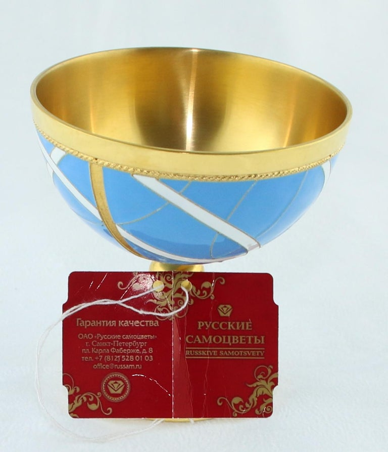 Russian Wine Chalice 24 Karat Gold-Plated Sterling Silver with Enamel For Sale 1