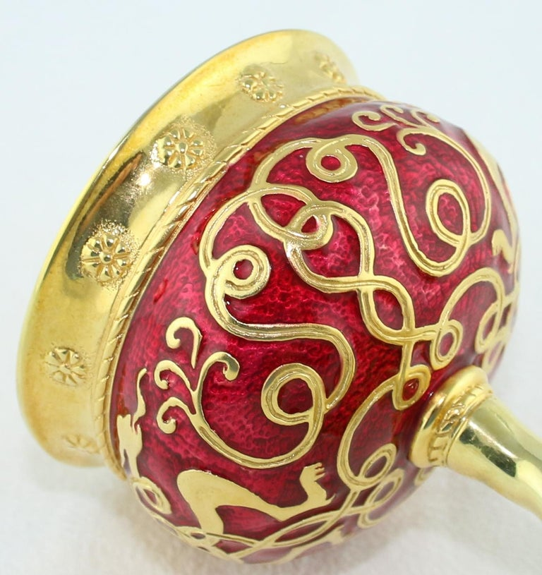 Russian Wine Chalice 24 Karat Gold Plated Sterling Silver with Enamel For Sale 4