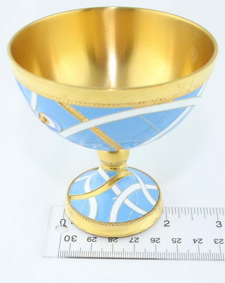 Russian Wine Chalice 24 Karat Gold-Plated Sterling Silver with Enamel For Sale 4