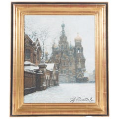 Russian Winter Oil Painting, Signed