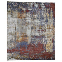 Rust Abstract Design Wool and Silk Hand Knotted Oriental Rug