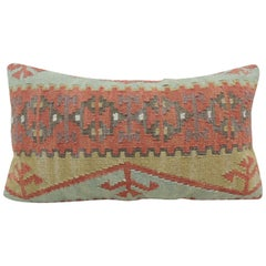 Rust and Blue Woven Kilim Decorative Bolster Pillow