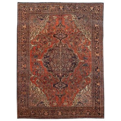 Rust Antique Sarouk Farahan Room Size Persian Wool Rug