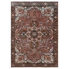 Rust Color Flower Design Persian Heriz Vintage Oriental Rug