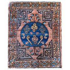 Rust Handmade Carpet Kohtan Rug, Oriental Chinese Blue Wool Rug