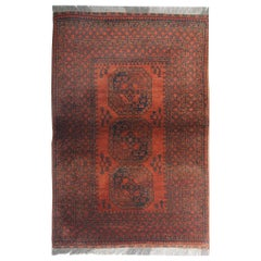 Rust Handmade Carpet Orange Afghan Area Rug, Oriental Wool Vintage Rugs