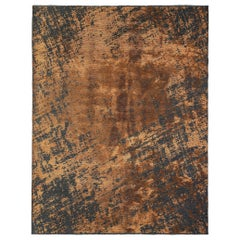 Rust Orange and Charcoal Gray Modern Abstract Pattern Soft Semi-Plush Rug