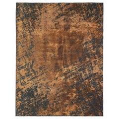 Rust Orange and Charcoal Gray Modern Abstract Pattern Soft Semi-Plush Rug