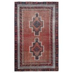 Rust Orange Handmade Persian Shiraz Distressed Vintage Natural Wool Bohemian Rug