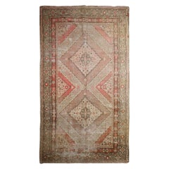 Rust Traditional Antique Handmade Khotan Rug, Pink Wool Central Area Rug Sale