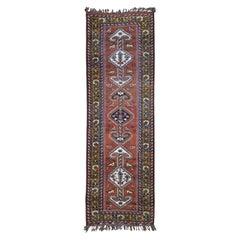 Rust Vintage Persian Kashkui Wide Runner Hand Knotted Oriental Rug