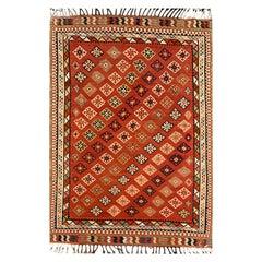 Rust Wool Geometric Kilim Rug, Handmade Oriental Flat-Woven Carpet