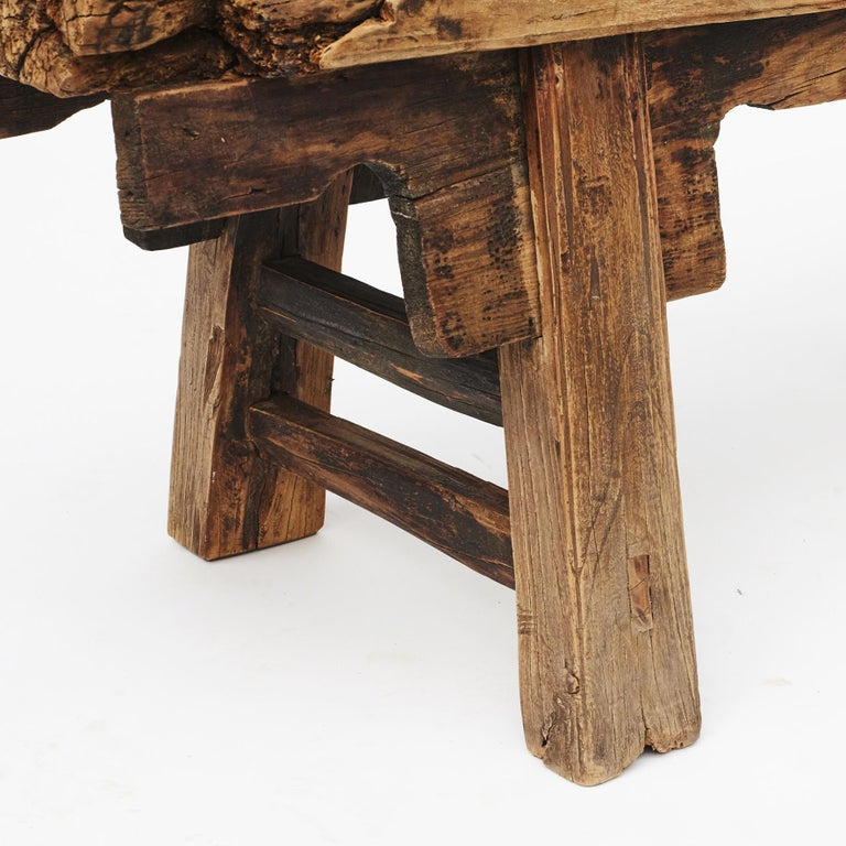 Qing Rustic 17th-18th Century Chinese Pine Bench For Sale