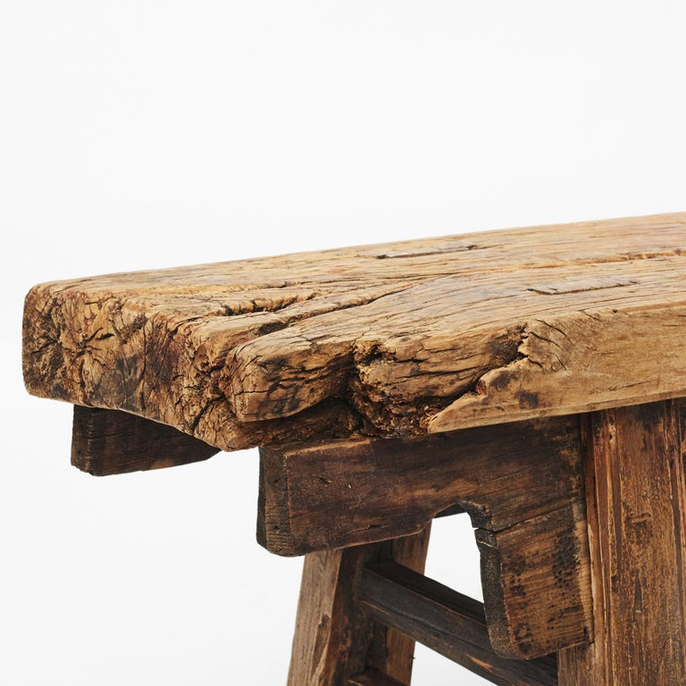 18th Century and Earlier Rustic 17th-18th Century Chinese Pine Bench For Sale