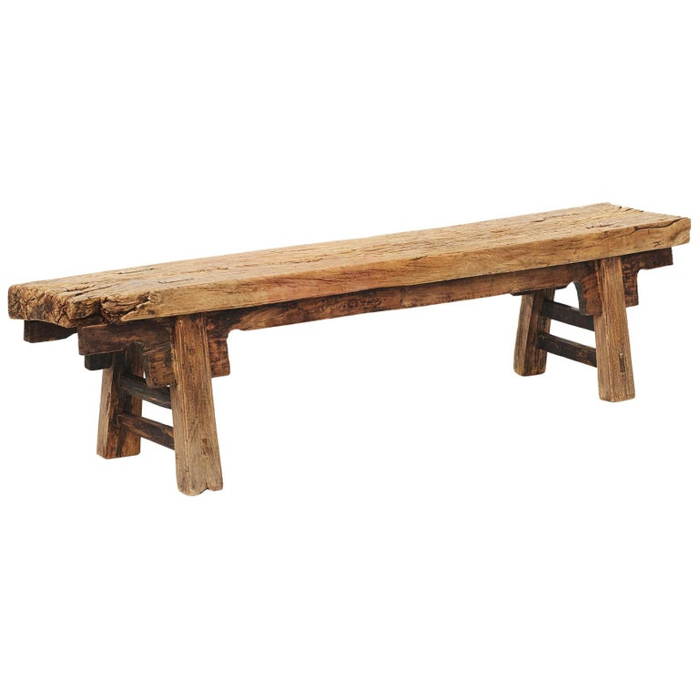 Rustic 17th-18th Century Chinese Pine Bench For Sale