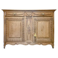 Rustic 18th C French Oak Buffet with Carved Details & Iron Hardware