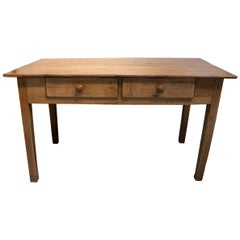 Rustic 1920s Spanish Two-Drawer Lime Washed Pine Wood Farmhouse Table