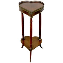 Rustic 19th Century French Brass Mounted Heart Motif Side Table