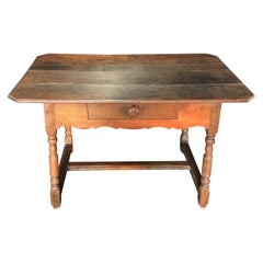 Rustic 19th Century French Country Walnut Side Table or Desk