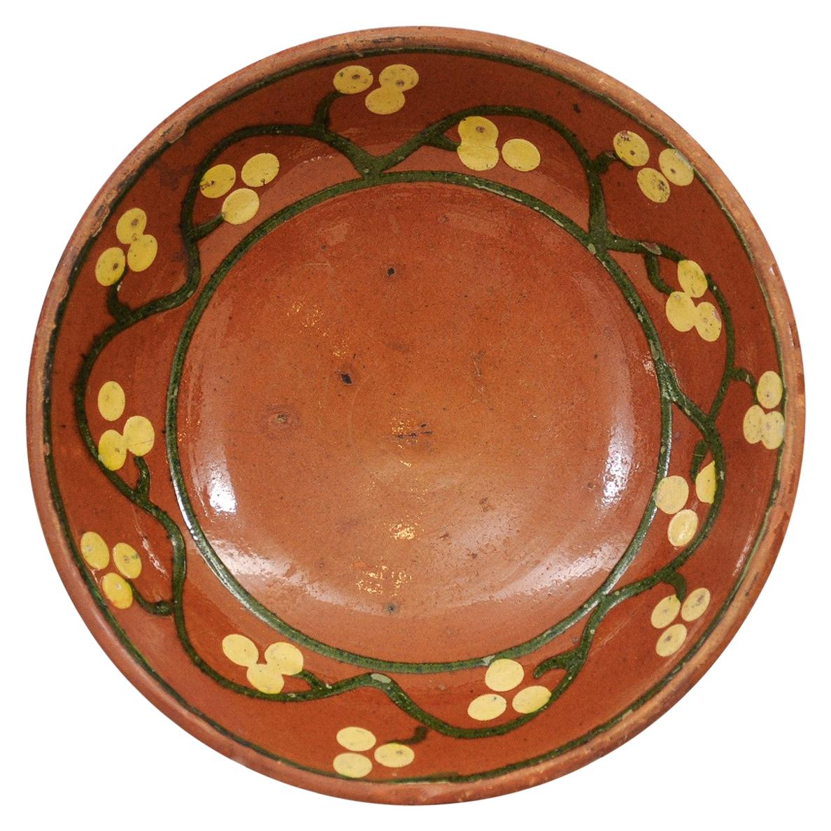 Rustic 19th Century French Fruit and Vegetable Pottery Bowl with Rust Glaze