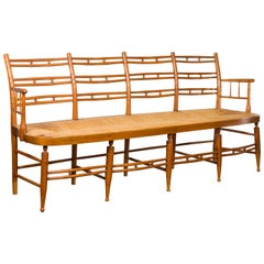 Rustic 19th Century French Walnut Bench with Open Back and Long Rush Seat