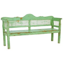 Rustic 19th Century Painted Swedish Bench