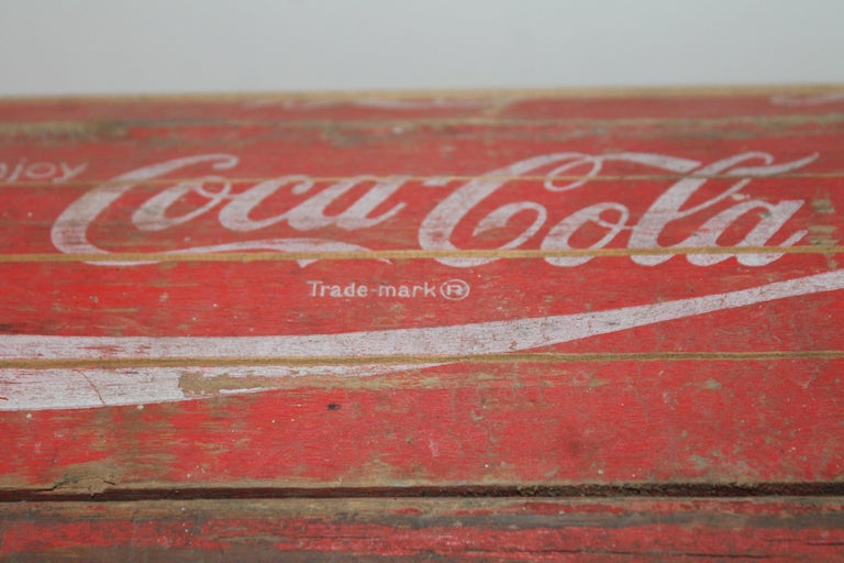 This cool folky handmade coke trunk or wood box was found in the midwest and was very well made and lined with wood. The condition is very good on this late 20th century handmade box.