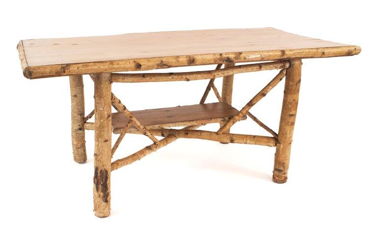 American Rustic Adirondack Rectangular Birchwood Dining Table For Sale