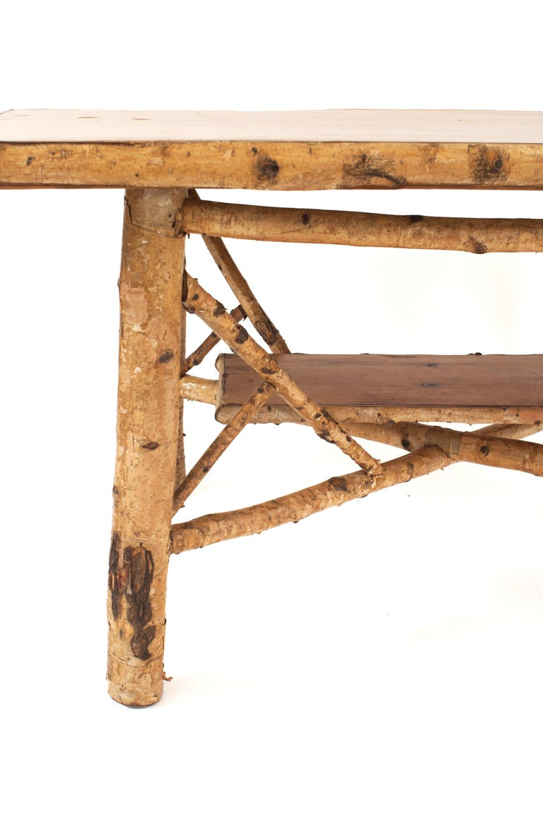 Rustic Adirondack Rectangular Birchwood Dining Table In Good Condition For Sale In New York, NY