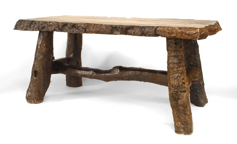 Rustic American Adirondack Style, Walnut Top Dining Table In Good Condition For Sale In New York, NY