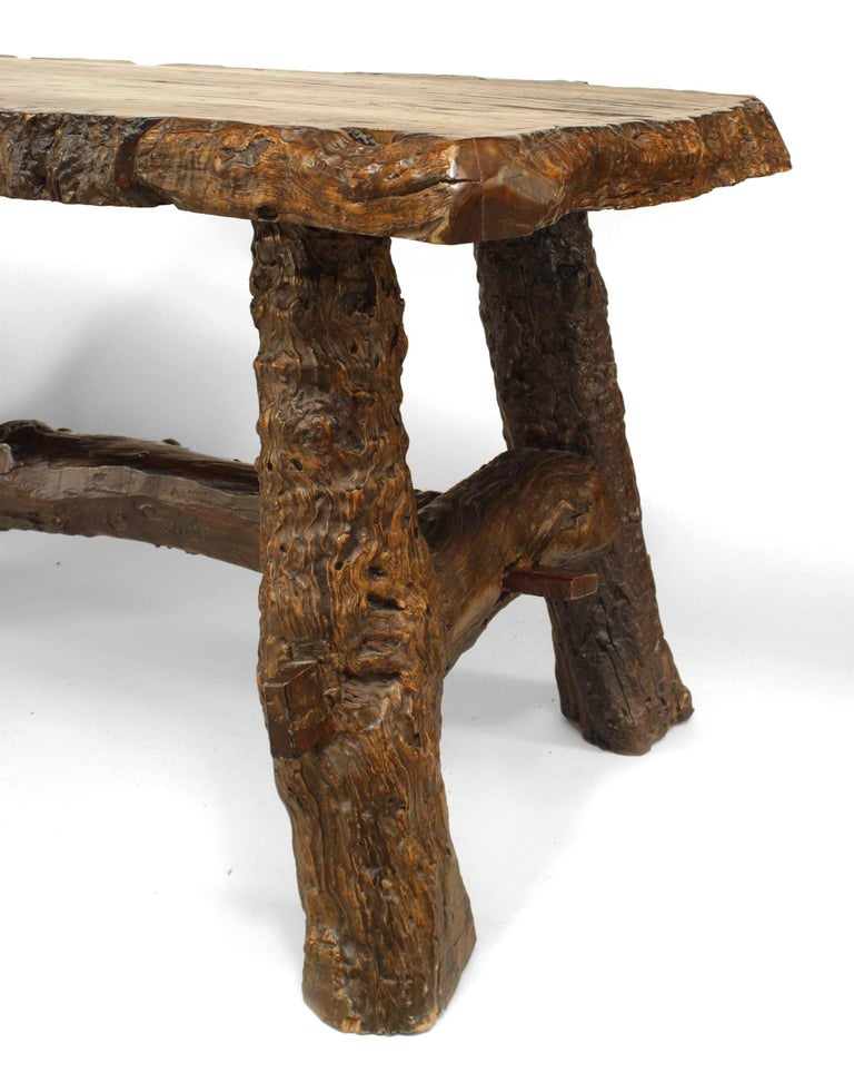Rustic American Adirondack Style, Walnut Top Dining Table For Sale 1