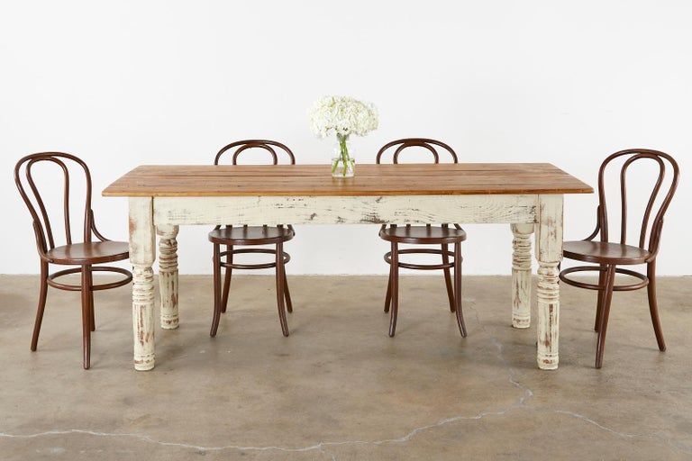 Rustic American Cream Painted Pine, Cream Colored Dining Table And Chairs