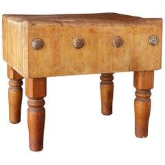 Rustic American Maple Butchers Block Table or Island