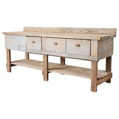 Rustic American Pine Three-Drawer Workbench Table