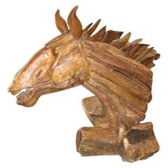Rustic American Wood Horse Sculpture