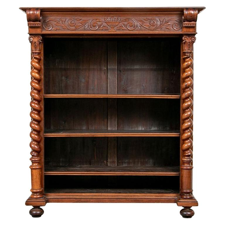 Rustic Antique Carved Barley Twist Mahogany Bookcase