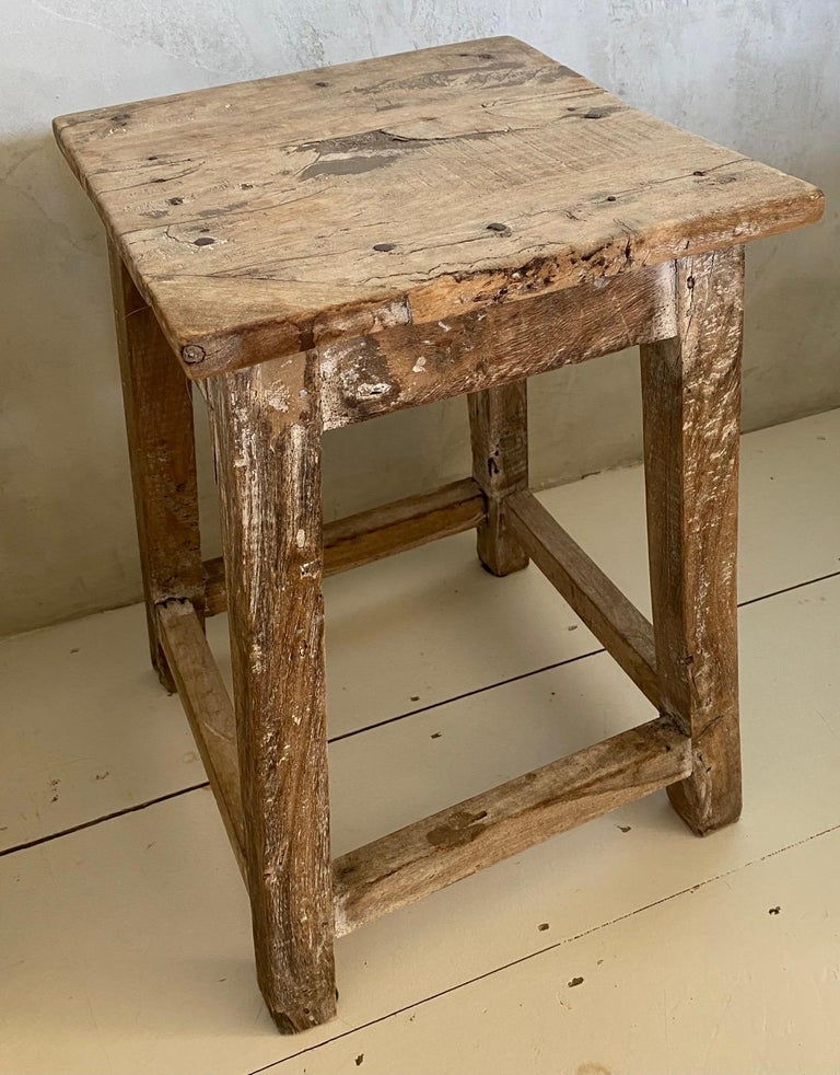 Chinese Export Rustic Antique Chinese Stool or Side Table For Sale