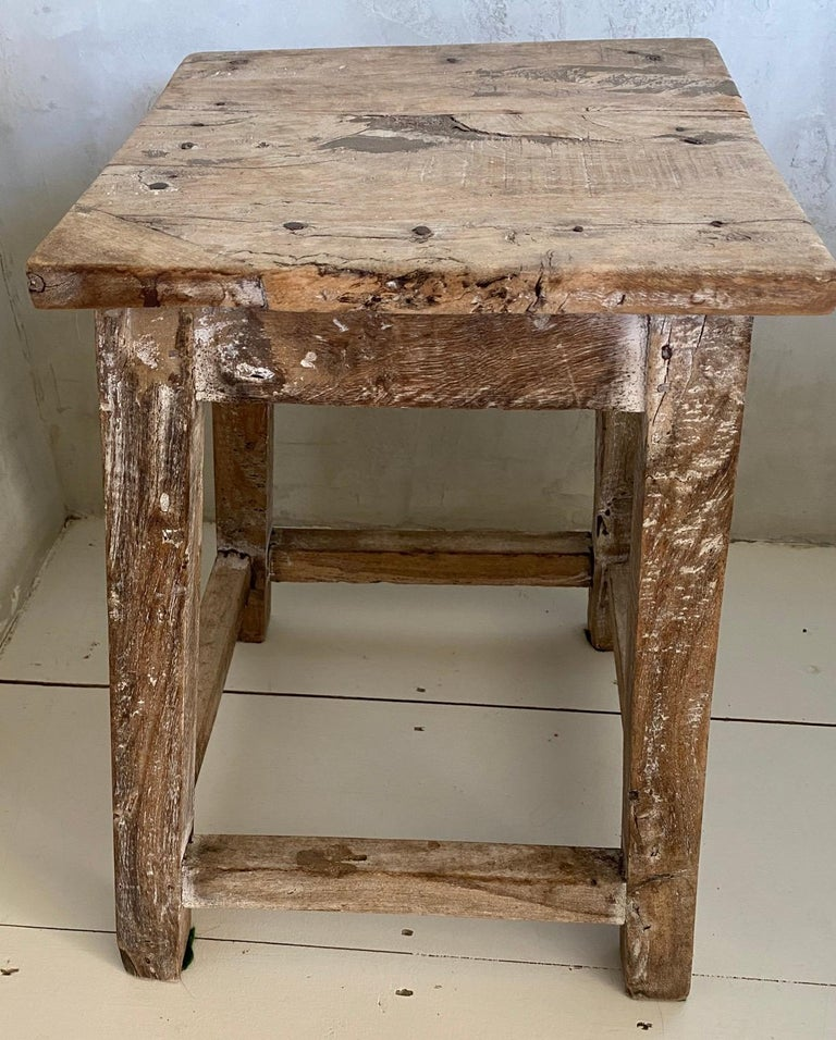 Hand-Crafted Rustic Antique Chinese Stool or Side Table For Sale
