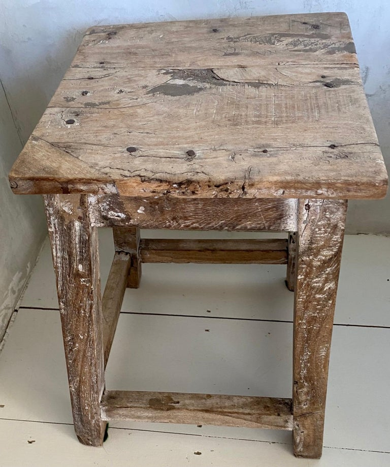 Rustic Antique Chinese Stool or Side Table In Good Condition For Sale In Great Barrington, MA