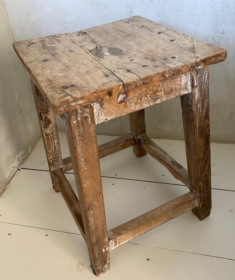 19th Century Rustic Antique Chinese Stool or Side Table For Sale