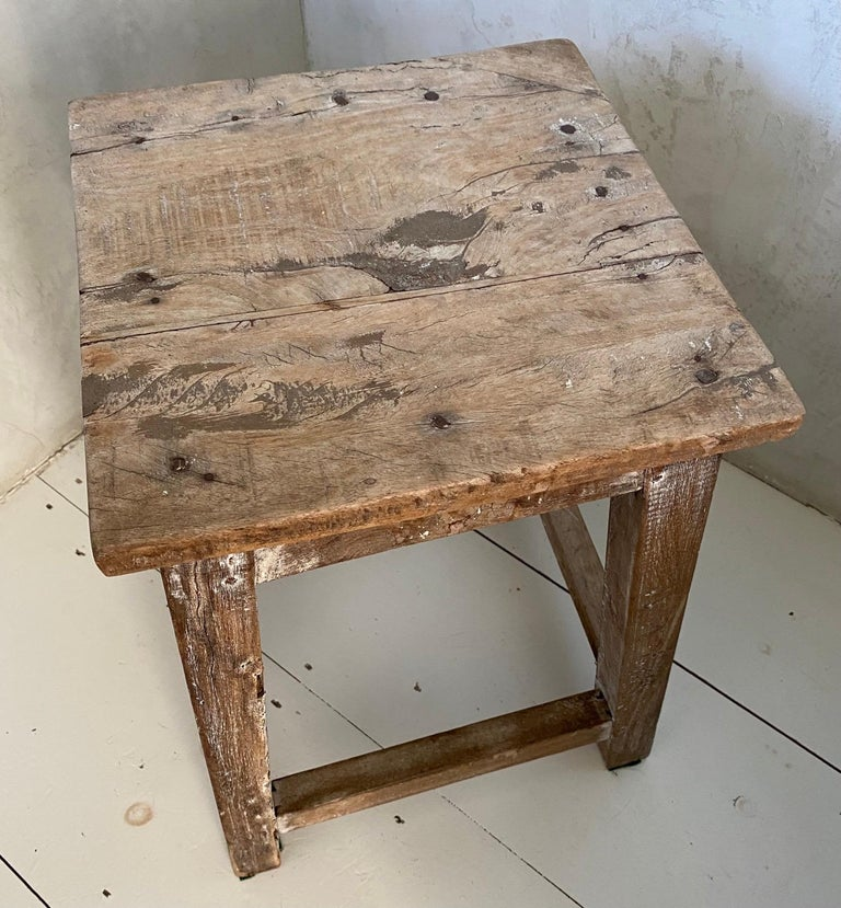 Wood Rustic Antique Chinese Stool or Side Table For Sale